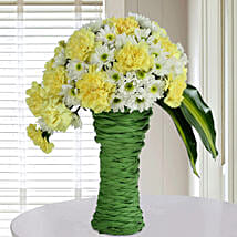 Daisies N Carnations Arrangement: Send Flowers to Noida