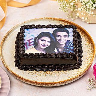 Decorated Chocolate Photo Cake: Photo Cakes for Birthday