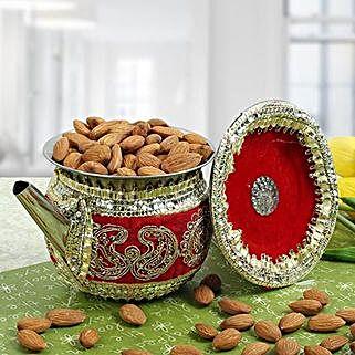 Decorated Karwa With Almonds: Karwa Chauth Gifts to Hyderabad