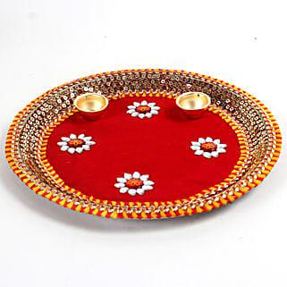 Decorated Red Floral Steel Thali: Send Pooja Thali