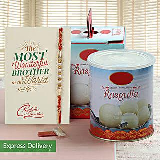 Delicious Rasgulla And Rakhi Combo: Rakhi to Jalna