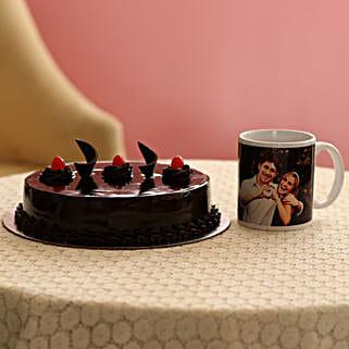 Delish Truffle Cake With Picture Mug: Personalised Mugs