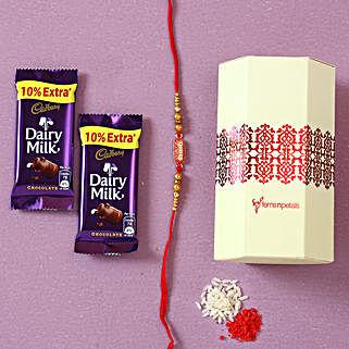 Designer Rakhi & Dairy Milk Chocolates: Rakhi Gifts for Brother