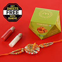 Designer Rakhi With Free Besan Burfi Box: Rakhi Gifts to Guwahati