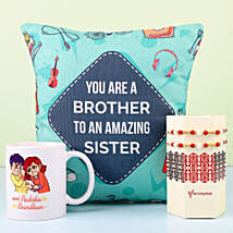 Designer Rakhi With Mug & Cushion For Bro: Rakhi Gifts to Begusarai