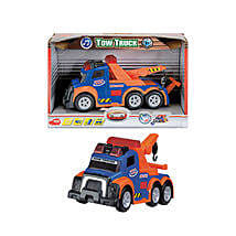 Dickie Tow Truck Blue with Cool Dude Smiley: Toy Vehicles