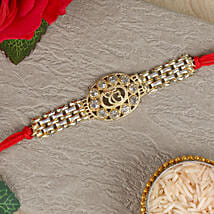 Ek Onkar American Diamond Chain Rakhi: Send Rakhi to Khandwa