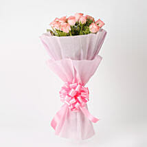 Elegance - Pink Roses Bouquet: Send Flower Bouquets to Mumbai