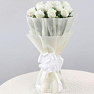 Elegant Pristine White Roses Bouquet: Send Flowers to Almora