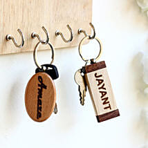Engraved Personalised Contrast Key Chains Set of 2: Personalised Key Chains
