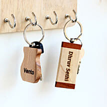 Engraved Personalised Wooden Key Chains Set of 2: Personalised Gifts for Men