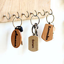 Engraved Wooden Key Chains Personalised Set of 3: Personalised Key Chains