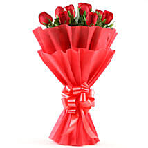 Enigmatic Red Roses Bouquet: Send Anniversary Flowers for Husband
