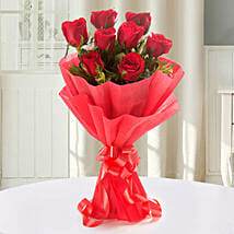 Enigmatic Red Roses Bouquet: Gladiolus