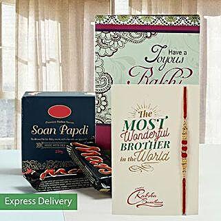 Enjoyable Sweets And Rakhi Combo: Rakhi With Greeting Cards