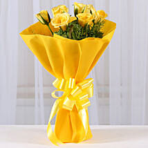 Enticing Yellow Roses Bouquet: Send Flower Bouquets to Bhopal