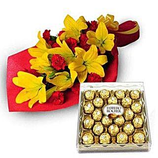 Exotic Hamper: Flowers & Chocolates for Karwa Chauth