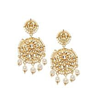 Fashionable Kundan Earrings Gold Color: Earrings For Women