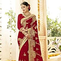Faux Georgette Wedding Saree in Red and Gold: Send Karwa Chauth Gifts to Jaipur