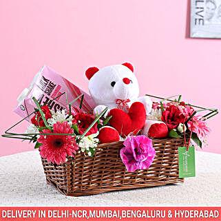 Floral Basket Of Goodies & Teddy Bear: Karwa Chauth Gift Hampers
