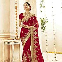 Floral Embroidered Saree in Sensual Red: Karwa Chauth Gifts to Bhubaneshwar