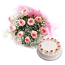 Flower and Cake Hamper: Mothers Day Flowers Thane