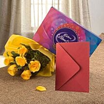 Flower Hamper N Greeting Card: New Year Flowers & Chocolates