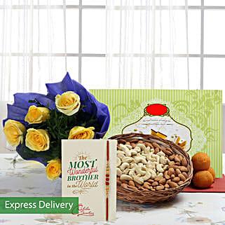 Flowerly Rakhi Delight: Rakhi With Sweets Aurangabad