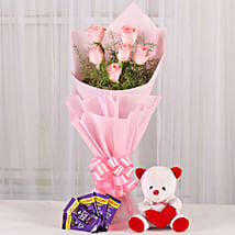 Flowers n Soft toy: Flowers N Chocolates - birthday
