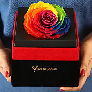 Big Forever Rainbow Rose in Black Velvet Box: Flowers for Parents