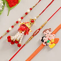 Funky & Colorful Set of 4 Rakhis: Send Rakhi to Varanasi