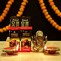 Gold Plated Ganesha Sweet Hamper: Chocolates Shopping India