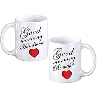 Good Morning Couple Mugs: Valentine Personalised Mugs