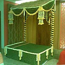 Green Floral Bed Decoration: Flowers for Janmashtami