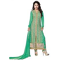 Green Pure Georgette Dress Material: Apparel Gifts
