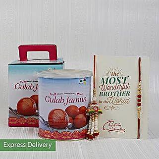 Gulab Jamun And Beads Rakhi Combo: Raksha Bandhan Sweets