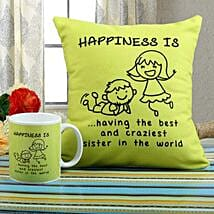 Happiness Mug N Cushion Combo: Send Rakhi to Shajapur