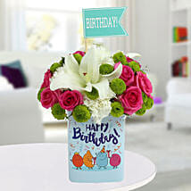 Happy Birthday Mixed Flowers Arrangement: Lilies