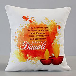 Happy Diwali Greetings Cushion: Diwali Gifts for Boyfriend