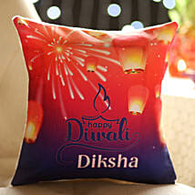 Happy Diwali Personalised Cushion: Send Personalised Gifts for Diwali