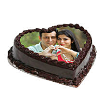 Heart Shape Photo Chocolate Cake: Photo Cakes to Ludhiana