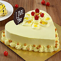 Heart Shaped Butterscotch Cake: Send Heart Shaped Cakes to Thane