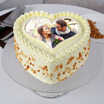 Heart Shaped Butterscotch Photo Cake: Photo cakes for anniversary