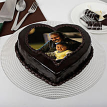 Heart Shaped Chocolate Truffle Photo Cake for Dad: Photo Cakes