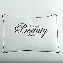 His Beauty Personalized Cushion: Gifts for 25Th Anniversary