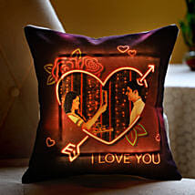 I LOVE YOU Personalised LED Cushion: Karva Chauth Gifts