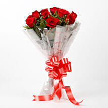 Impressive Charm- Bouquet of 10 Red Roses: Send Flowers to Tikamgarh