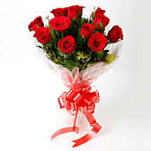 Impressive Charm- Bouquet of 10 Red Roses: Send Flowers to Nandurbar