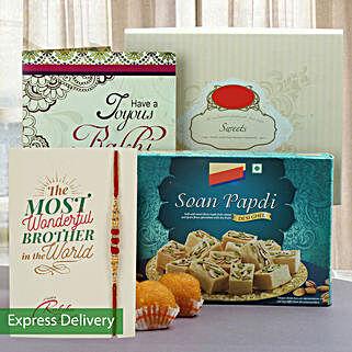 Joyous Rakhi And Sweets Hamper: Raksha Bandhan Greeting Card