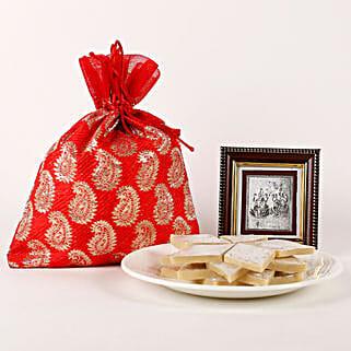 Lakshmi Ganesha Frame & Kaju Katli Hamper: Diwali Gifts for Husband